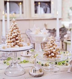 Pretty cookie trees get a drizzle of snowy frosting. More white on the table, candles, and other decorations makes a harmonious scene for a centerpiece or sideboard.  ~ Better Homes and Gardens
