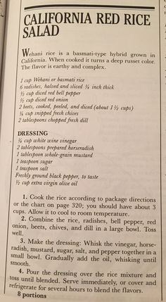 California Red Rice Salad from The New Basics pg. 319