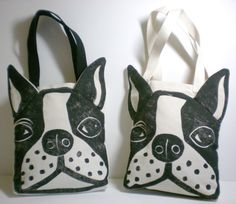 Boston Terrier Face Bag - Linoleum Block Print -Canvas Tote Bag- Made to Order- on Etsy, $32.00