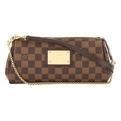 Pre-Owned Louis Vuitton Damier Ebene Eva Bag ($749) ❤ liked on Polyvore featuring bags, handbags, shoulder bags, brown, shoulder handbags, hand bags, brown shoulder bag, brown crossbody and louis vuitton crossbody