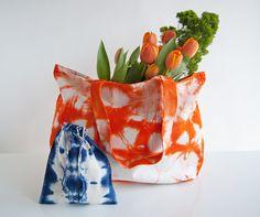 orange shibori triangle pattern extra large tote