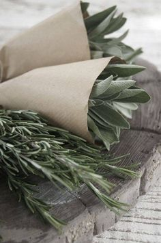 FRESH HERBS ~ farmers market ~Paper bundles of rosemary and sage ~ Spices And Herbs, Fresh Herbs, Salvia, Market Garden, Farmers' Market, Farm Stand, Growing Herbs, Rosemary Growing, Rosemary Plant