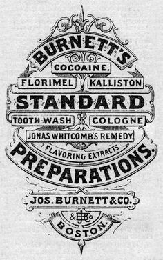 Boston Pharmacy Label, late 19nth cent. Typo Vintage, Vintage Poster, Vintage Typography, Vintage Type, Vintage Labels, Vintage Logos, Vintage Ephemera, Cool Typography, Typography Letters