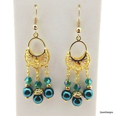 Teal Earrings Blue Zircon Earrings Chandelier by ZaverDesigns