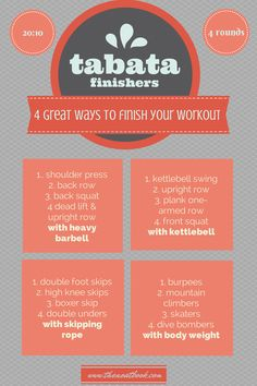 Tabata finishers: four fantastic ways to finish your workout with a metabolic ba. - Tabata finishers: four fantastic ways to finish your workout with a metabolic bang! Hitt Workout, Tabata Workouts, At Home Workouts, Body Workouts, Boxing Workout, Metabolic Workouts, Cardio Fitness, Extreme Workouts, Workout Plans