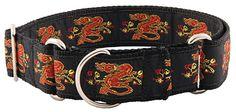 Red Dragon Woven Ribbon Martingale Dog Collar
