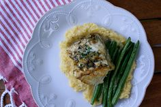 Date Night In: Grilled Chilean Sea Bass // Savory Polenta // Sauteed Green Beans