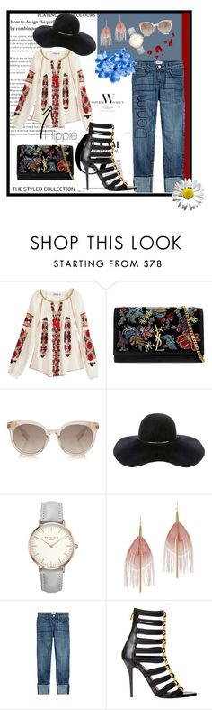 """""""Look #75"""" by pro-lauramure ❤ liked on Polyvore featuring Calypso St. Barth, Yves Saint Laurent, Eugenia Kim, Serefina, Current/Elliott and Balmain"""