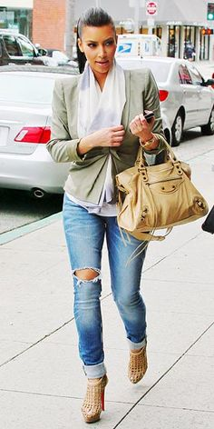 Who made Kim Kardashian's nude cage boots, green jacket, jeans and nude bag that she wore in Los Angeles?