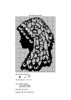 0 point de croix monochrome profil femme - cross stitch woman's profile