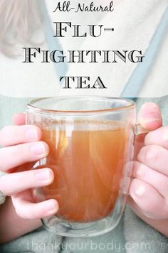This natural, flu fighting tea soothes your cough and sore throat with honey, lemon, ginger and other immune-boosting herbs. Effective, and tastes great! #coldremedies