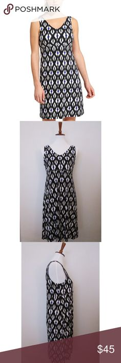 """Athleta printed Santorini ikat black dress This Athleta black blue and white dress is incredibly soft and in excellent condition! Very stretchy.  Measurements:  Bust 34"""" Length 36"""" Athleta Dresses"""