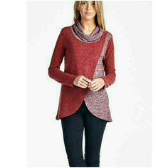 NEW OVER LAP TWO TONED  SWEATER New burgundy 2 tone sweater. Features cowl neck & over lap front.  65% Rayon/30% Polyester /5% Spandex Made in USA Price is final 4 Bidden Boutique Sweaters Cowl & Turtlenecks