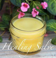 Healing Salve: 1 c Coconut Oil, 1 c Olive Oil, 4 T Beeswax pastilles, 1/2 t. Vitamin E oil. Melt. Pour into 4 glass jars. To each add 10 drops Lavender, 8 drops Lemon, 6 drops Melaleuca, 1/2 t Vitamin E