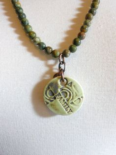 Ceramic Pendant Necklace Green Pendant Beaded by TrudyAnnDesigns, $32.00