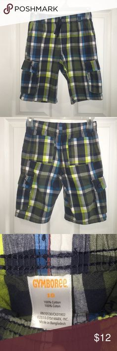 3 for $30 Gymboree shorts-plaid with elastic waist Super cute and in excellent condition!  No flaws, stains, or holes.  Cargo pockets on the side.  Looks great with chartreuse, olive, electric blue, grey, and white tops.  See matching possibilities in my closet, especially the bright yellow/green shirt. Gymboree Bottoms Shorts