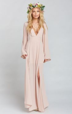 Venus Long Sleeve Flare Dress ~ Dusty Blush Crisp   Show Me Your MuMu