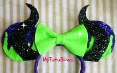 MINNIE MOUSE Inspired MALEFICENT Minnie Ears Headband Sleeping Beauty Black Horns Halloween Sparkle Glitter Fits Adults and Children