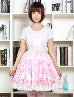 da961738f Cute Lolita Dress Pink Sakura Kitty Printed Lolita Skirt With White Lace  Trim Shirring