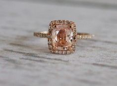 Pink Champagne Sapphire in 14K rose gold diamond ring...my new engagement ring