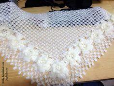 Crochet charming lace shawl for women