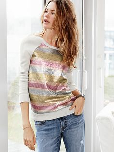 The Supermodel Sweatshirt with Ombre Sequin Stripes http://rstyle.me/n/ffaxqnyg6