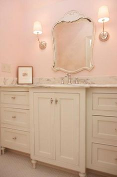 Ivory and pink girl's bathroom features pink walls framing Cinderella mirror flanked by Visual Comfort Lighting Vendome Single Sconces over extra-wide ivory washstand topped with white marble top. Pink Striped Walls, Pink Walls, Small Bathroom Layout, Old Country Houses, White Beadboard, Bath Girls, Visual Comfort, Traditional Bathroom, Frames On Wall