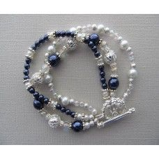 """""""Midnight Stars"""": Navy, silver and pearls wrap the wrist with ease.    Sterling silver toggle   7"""" or 8"""" length   $62"""