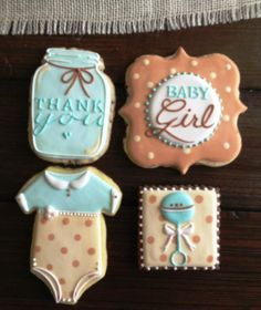Cute baby cookies for your baby shower! Fancy Cookies, Iced Cookies, Cut Out Cookies, Cute Cookies, Cupcake Cookies, Sugar Cookies, Baby Shower Cupcakes For Girls, Baby Shower Cookies, Mason Jar Cookies