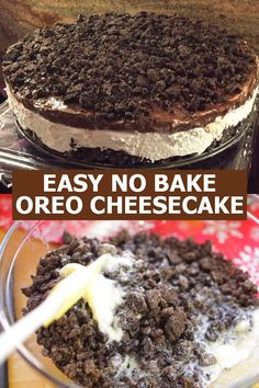 Here's a super easy cheesecake recipe made with Oreos, chocolate instant pudding, and cream cheese which makes a sweet decadent treat for your loved ones! Give this a try! Baked Oreo Cheesecake Recipe, Oreo Dessert Recipes, Easy Cheesecake Recipes, No Bake Desserts, Oreo Cookie Butter, Crushed Oreos, Whipped Cream Cheese, Instant Pudding, Chocolate Pudding