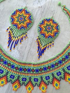 ONE OF A KIND Huichol necklace with earrings by ArtesaniasBatyah