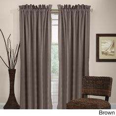 Grand Luxe Madison Rod Pocket Curtain Panel (84 inch Brown), Size 84 Inches (Chenille, Solid)