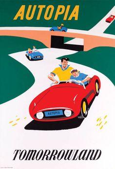 Vintage Disneyland Tomorrowland Autopia 1955 Poster | eBay