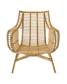 Seating - The chair is handwoven of dark rattan and designed for comfort with a rounded back and sloping arms. My Living Room, Living Room Chairs, Dining Chairs, Living Area, Rattan Chair Cushions, Wicker Chairs, Bag Chairs, Eames Chairs, Outdoor Chairs