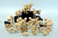 LARGE GROUPING OF COTTON COVERED SHEEP