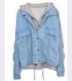 Blue denim drawstring outerwear  From: shesinside.com $26