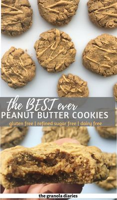 These are the best Healthy Peanut Butter Cookies you'll ever eat! Only 5 ingredients and about 15 minutes. Gluten, refined sugar, and dairy free! Gluten Free Peanut Butter Cookies, Peanut Butter Snacks, Dairy Free Cookies, Healthy Cookies, Healthy Sweets, Healthy Dessert Recipes, Healthy Baking, Healthy Drinks, Peanut Recipes