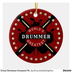 This cool drumming Christmas ornament features drum kits, crossed drum sticks and the caption World's Greatest Drummer. Check out www.drumjunkiegraphics.com for more great drummer merch and musician gifts - all designed by a drummer! #drummerchristmas #drumkit #drumsticks #drumjunkie