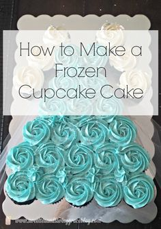 Learn how to make a beautiful princess dress cupcake cake, like this one inspired by Frozen! Frozen Birthday Cupcakes, Frozen Cupcake Cake, Frozen Themed Birthday Party, Frozen Birthday Party, Frozen Party, Cupcake Cakes, Birthday Parties, Elsa Frozen Cake, 3rd Birthday