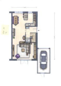 Met een hoekkeuken en schiereiland krijg je nog meer ruimte. Zeker als je je eetkamertafel haaks tegen de muur plaatst. Drawing Interior, Sims, Wall Bookshelves, Condo Decorating, I Coming Home, Small Studio, House Layouts, Architecture Plan, Interior Inspiration