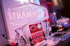 An intricate ice sculpture for sponsor Republic National Distributing Company topped one of the ballroom's bars.