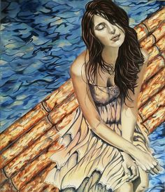 Title: Surrender To The Flow -Original fine art oil painting on stretched canvas. Size: Size 19 x 27 x the canvas is inch deep. Free Canvas, Coordinating Colors, Woman Painting, Stretched Canvas, Art Oil, All Art, Canvas Size, Flow, Original Paintings