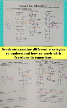 Emphasize students critiquing work of others as they compare and contrast different methods for solving equations with fractions. Solving Linear Equations, Systems Of Equations, Math Equations, Gcse Math, Maths Algebra, Math Math, Fractions Worksheets, 2nd Grade Worksheets, Standards For Mathematical Practice