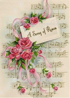 Vintage SONG OF ROSES Art Print