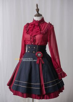 Penny House -The Academy of Magical Arts- High Collar Lolita Blouse and Beret cute red and black dress Lolita Fashion, Girl Fashion, Fashion Outfits, Fashion Design, Vestidos Anime, Dance Outfits, Cool Outfits, Vintage Dresses, Vintage Outfits