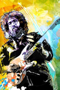 JERRY GARCIA, Grateful Dead, Rock Star, Music Art, celebrity portrait, Poster size, Canvas art print, available in 18x24 or 24x36.