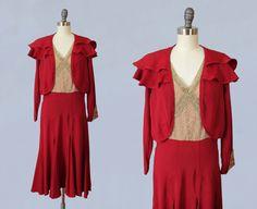 RÉSERVÉ des années 1930 robe / 30 s robe de par GuermantesVintage