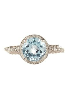 Sterling Silver Deco Sky Blue Topaz & Diamond Halo Ring - 0.20 ctw by Non Specific on @HauteLook