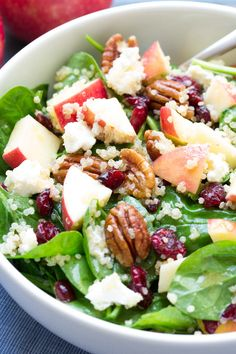 Spinach and Quinoa Salad with Apple and Pecans. SO FULL OF FLAVOR! My favorite healthy lunch and dinner side dish! | www.kristineskitchenblog.com