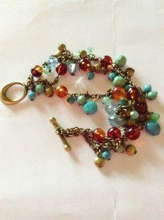 Multicolored Beaded Antiqued Brass Bracelet by RubySlipper on Etsy, $8.00